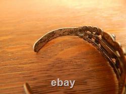 Vintage Fred Harvey Era Navajo Sterling Silver Green Turquoise Cuff Bracelet