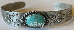 Vintage Fred Harvey Era Sterling Silver Turquoise Cuff Bracelet