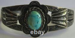 Vintage Fred Harvey Navajo Indian Silver Turquoise Cuff Bracelet