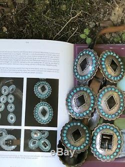 Vintage Fred Peshlakai Navajo Turquoise & Sterling Silver Concho Belt Signed