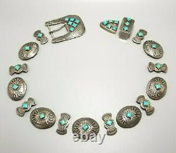 Vintage Geraldine Yazzie Belt Buckle & Concho Set, Navajo, Sterling & Turquoise
