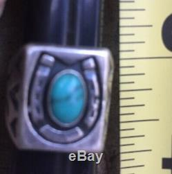 Vintage Horseshoe Sterling Silver Southwest Navajo Turquoise Ring Size5.5 9.1g