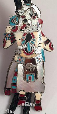 Vintage Jim Yazzie Navajo Sterling Silver Kachina Masonic Turquoise Coral Bolo