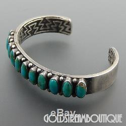 Vintage Kirk Smith Navajo 925 Silver 11 Green Turquoise Cluster Cuff Bracelet