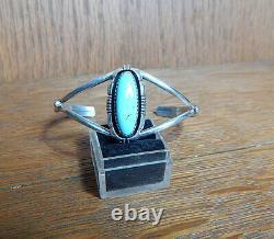 Vintage L Yazzie Navajo Sterling Silver Turquoise Cuff Bracelet Signed