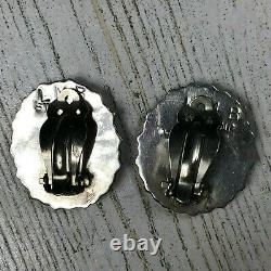 Vintage LMB Larry Begay Navajo Sterling Silver Turquoise Earrings Clip-On Signed