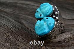 Vintage Large Zuni or Navajo Silver Carved Turquoise Frog Fetish Ring 42g Sz 12