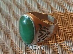 Vintage Mens Turquoise Bell Trading Post Sterling Silver Ring Navajo Size 10