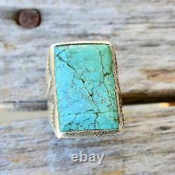 Vintage Mens Turquoise Ring Size 8 Bell Trading Post Southwest Sterling Old Pawn