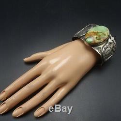 Vintage NAVAJO Hand-Stamped Sterling Silver DAMELE TURQUOISE Cuff BRACELET Snake