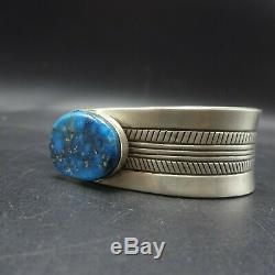 Vintage NAVAJO Hand-Stamped Sterling Silver MORENCI TURQUOISE Cuff BRACELET