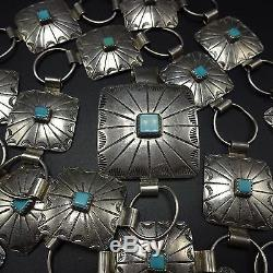 Vintage NAVAJO Hand Stamped Sterling Silver & TURQUOISE Square Concho BELT 36