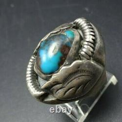 Vintage NAVAJO Heavy Sterling Silver BISBEE TURQUOISE Signet Style RING siz 8.25