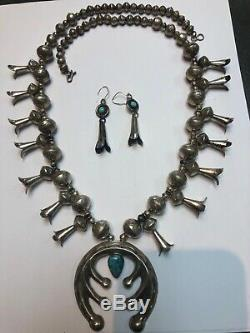 Vintage NAVAJO INDIAN Sterling Silver Turquoise SQUASH BLOSSOM Necklace Earrings