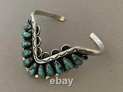 Vintage NAVAJO Petit Point Cluster Turquoise & Sterling Silver Cuff Bracelet 925