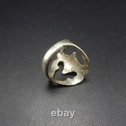 Vintage NAVAJO Sand Cast Sterling Silver & BISBEE BLUE TURQUOISE RING, size 9