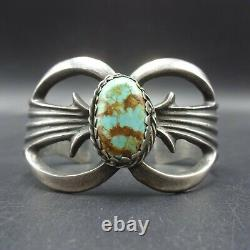 Vintage NAVAJO Sand Cast Sterling Silver and TURQUOISE Cuff BRACELET 61g