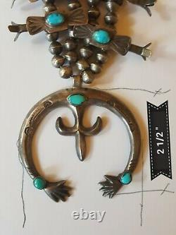 Vintage NAVAJO Silver & Turquoise SQUASH BLOSSOM Necklace, Double Naja
