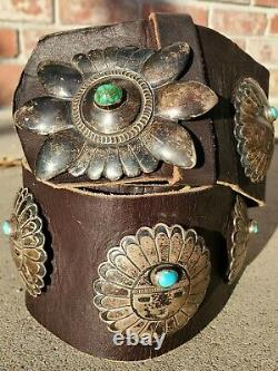 Vintage NAVAJO Silver sunface Turquoise Nugget Concho Belt Buckle artist signed