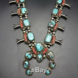 Vintage NAVAJO Sterling Silver BRANCH CORAL & TURQUOISE Squash Blossom NECKLACE