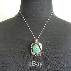 Vintage NAVAJO Sterling Silver CANDELARIA TURQUOISE PENDANT + 18 Box Chain