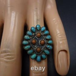 Vintage NAVAJO Sterling Silver CORAL & TURQUOISE Petit Point RING, size 7.5