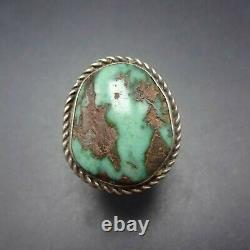 Vintage NAVAJO Sterling Silver Exquisite Green Royston TURQUOISE RING size 8.25