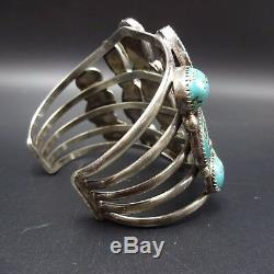 Vintage NAVAJO Sterling Silver & FOX TURQUOISE Cluster Cuff BRACELET 73g