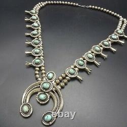 Vintage NAVAJO Sterling Silver LIGHT BLUE TURQUOISE Squash Blossom NECKLACE