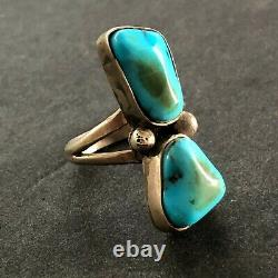 Vintage NAVAJO Sterling Silver NATURAL BLUE KINGMAN TURQUOISE RING size 6