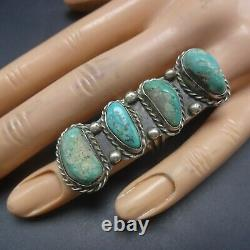 Vintage NAVAJO Sterling Silver NATURAL TURQUOISE Quartz Inclusions RING size 6