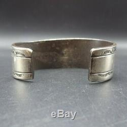 Vintage NAVAJO Sterling Silver Overlay TURQUOISE COBBLESTONE INLAY Cuff BRACELET
