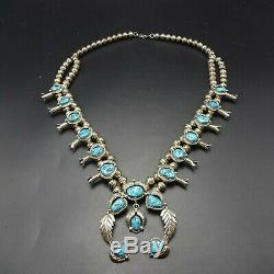Vintage NAVAJO Sterling Silver SLEEPING BEAUTY Turquoise SQUASH BLOSSOM Necklace