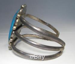 Vintage NAVAJO Sterling Silver Sleeping Beauty Turquoise Heavy Bracelet C1177