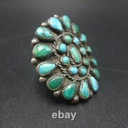 Vintage NAVAJO Sterling Silver TURQUOISE Petit Point Cluster RING size 10.5