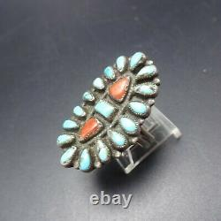 Vintage NAVAJO Sterling Silver TURQUOISE and CORAL Cluster RING size 8.75
