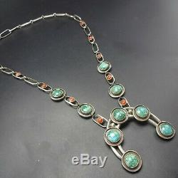 Vintage NAVAJO Sterling Silver TURQUOISE and CORAL NECKLACE with NAJA