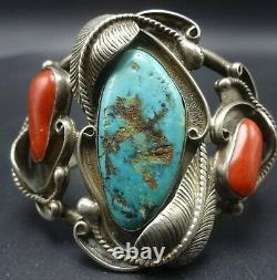 Vintage NAVAJO Sterling Silver TURQUOISE and OLD RED MED CORAL Cuff BRACELET