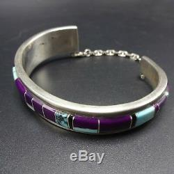 Vintage NAVAJO Sterling Silver TURQUOISE and SUGILITE Inlay Cuff BRACELET