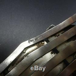 Vintage NAVAJO Sterling Silver TURQUOISE with Spiderweb Matrix Cuff BRACELET