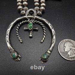 Vintage NAVAJO Sterling Silver & Turquoise SQUASH BLOSSOM Necklace, Double Naja
