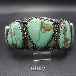Vintage NAVAJO Sterling Silver and Light Green FOX MINE TURQUOISE Cuff BRACELET