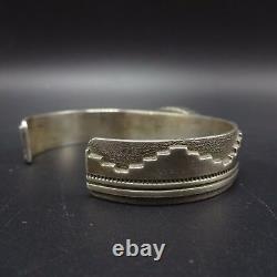 Vintage NAVAJO TUFA CAST Sterling Silver & MORENCI TURQUOISE Cuff BRACELET 45g