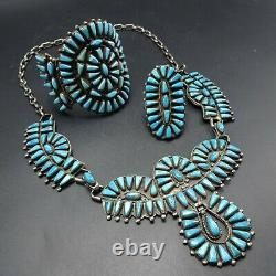 Vintage NAVAJO Turquoise Needlepoint SET by JONAH NEZ Necklace Bracelet Ring