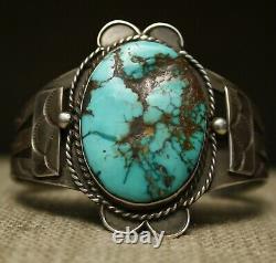 Vintage Native American Harvey Era Turquoise Sterling Silver Cuff Bracelet