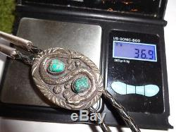 Vintage Native American Indian Navajo Snake Turquoise Casted Silver Bolo Tie