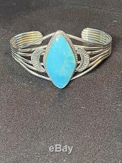 Vintage Native American Navajo 925 STERLING SILVER Turquoise Cuff Bracelet 6.5
