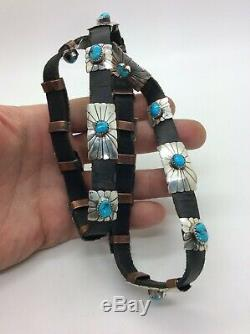 Vintage Native American Navajo Hat Band Sterling Silver Concho with Turquoise