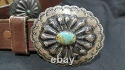 Vintage Native American Navajo Old Pawn Silver & Turquoise Concho Belt (R165)