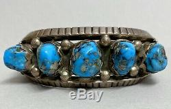 Vintage Native American Navajo Sterling Silver Morenci Turquoise Cuff Bracelet